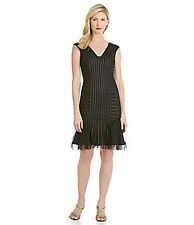Adrianna Papell Black Mesh Satin Bands Formal Cocktail Dress Wedding Guest  10