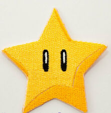 Gold Power Star Patch Embroidered Badge Applique Costume Super Mario World Kart
