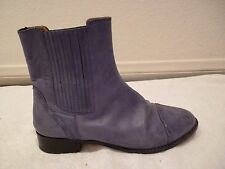 Chloé Leather flat Ankle Bootie Blue stretch pull on Boot Womens SZ 37.5/7.5