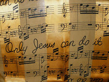 "Womans Scarf Only Jesus Can Do It Song Music Gold Black 59"" x 12"" EXC #B23"