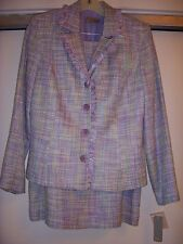 NWT gorgeous pastel lavender green ivory etc allyear LINEA DOMANI skirt suit 10