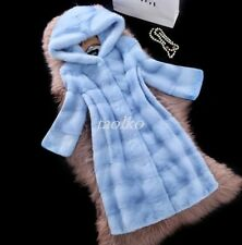 Womens Faux Fur Waistcoat Hooded Jacket Coat Warm Outwear Thick Long Slim Coats