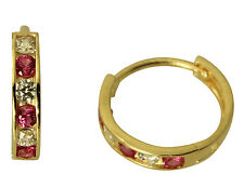14K Yellow Gold 2mm Thick 6 Stone Red CZ Polished Hoop Huggies Earrings