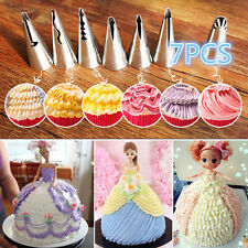 7x Pastry Skirt Tips Icing Piping Nozzles Stainless Steel Cake Baking Decor Tool
