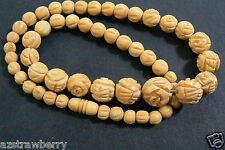 """PRETTY ANTIQUE CARVED ROUND GRADUATED BEADS NECKLACE 17""""L"""