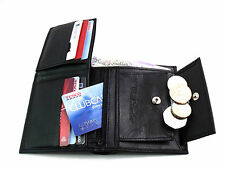 MENS NEW GENUINE HIGH QUALITY BLACK LEATHER WALLET CREDIT CARD HOLDER COIN POUCH