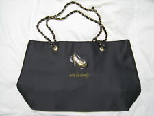 "NEW DSW Black Satin Tote ""Ooh La Lovely"" w Gold High Heel Shoes Design Hardware"