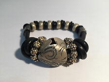 Nueva - Pulsera Piel Negra y Plata - Black Leather & Silver Bracelet - New