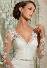 Long sleeves lace mermaid Wedding Dress Bridal formal Gown Size 6 8 10 12 14 16+