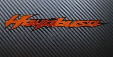 Hayabusa motorcycle decals custom graphics orange Chrome on black
