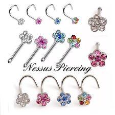 Flower nose stud piercing surgical steel piercing hoop ring straight curved bar