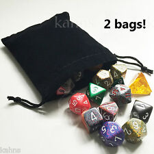 2 Dice Bags BLACK Velour Suedecloth Medium 4 x 4.75 in. Chessex - velvet new