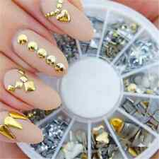 120PCS Lots 3D Gold Silver Metal Nail Art Tips Fashion Metallic Studs Stickers T