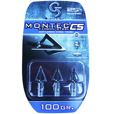 "G5 Broadhead Montec CS 3pk 100 Grain 1 1/16"" Cut #00113 Carbon Steel 113"