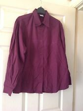 UNITED COLORS OF BENETTON 1980s VINTAGE BURGUNDY WHITE SHIRT BLOUSE 14-16 NEW