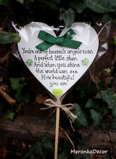 Memorial heart GREEN-Baby funeral verse-Child Grave Ornament-Personalised Plaque