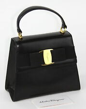 Vintage Salvatore Ferragamo Black Calfskin Two-Way Vara Bow Bag AT-21 5677
