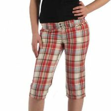 Drunknmunky Damen Neon Red Checked Shorts Größe 36/S karo Hose