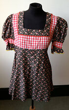 vintage 1970s FIORUCCI kitsch floral and gingham micro mini dress/tunic XS 6/8