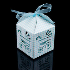Blue White Checkered Baby Carriage Favor Candy Box Party Shower Decoration 24pcs