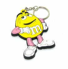 M&M  RUBBER  KEYCHAIN KEY RING  YELLOW