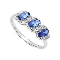 9CT WHITE GOLD TANZANITE & DIAMOND ETERNITY ENGAGEMENT RING SIZE K-T ANNIVERSARY