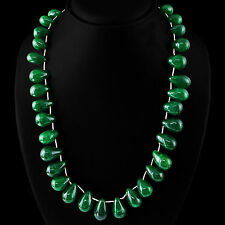 BEST QUALITY 600.00 CTS EARTH MINED RICH GREEN EMERALD BEADS NECKLACE STRAND