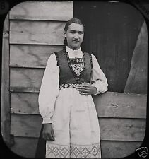 Glass Magic Lantern Slide HARDANGERFJORD GIRL ODDE C1888 PHOTO NORWAY