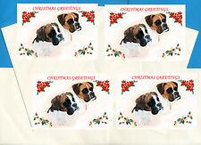 BOXER DOG PACK OF 4 CARDS DOG PRINT GREETING CHRISTMAS CARDS