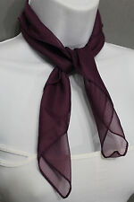Small Classic Chic Women Neck Tie Scarf Sheer Fabric Pocket Square Dark Purple
