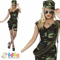 FEVER SOLDIER CAMO ARMY COMBAT GIRL- UK 4-18 - womens ladies fancy dress costume