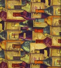 "novelty prints 32471 wine bottles 100% cotton 44"" wide fabric by the yard"