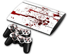 PS3 PlayStation 3 Super Slim Skin Design Aufkleber Schutzfolie Set - Blood Motiv