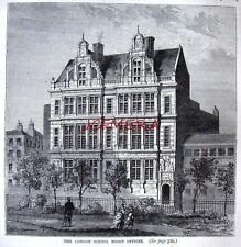 Antique Old London Engraved Print c1878 - 'The London School Board Offices'