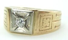 VINTAGE 10K YELLOW GOLD NATURAL DIAMOND MENS MANS RING  SIZE 6
