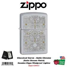 Zippo Classical Curve Lighter, Satin Chrome, Genuine USA Windproof #28457