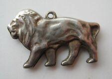 VINTAGE Sterling Big Cat LION Silver Bracelet Charm King of The Jungle