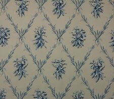 "SCHUMACHER GREEFF HARVEST TRELLIS BLUE D4055 BEIGE FLORAL Fabric 1.5 YARDS 54""W"