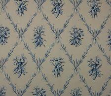 """SCHUMACHER GREEFF HARVEST TRELLIS BLUE D4055 BEIGE FLORAL Fabric 1.5 YARDS 54""""W"""
