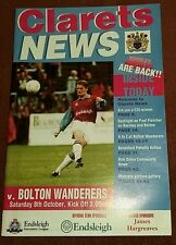 Burnley v Bolton Wanderers Division 1 - Saturday October 8th 1994  - MINT
