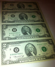 1976 Uncut Sheet 4 X $2 Crisp US 2 Dollars Uncirculated LEGAL MONEY GIFT BILLS.
