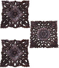 Set of 3. Asian Carved Wood Wall Decor Panel. Floral Wood Wall Plaques. 12""