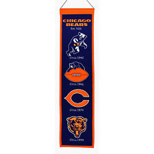 """Chicago Bears 32"""" Embroidered Genuine Wool Heritage Banner NWT NFL"""