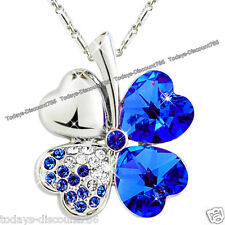 SALE Xmas Gift For Her - Sapphire Blue Crystal Heart Pendant Necklace Love Women