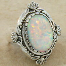WHITE LAB OPAL ANTIQUE VICTORIAN DESIGN 925 STERLING SILVER RING SIZE 9, #222