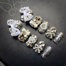 24pcs Wedding Designer Fake Nails with Pearls Rhinestones Decor Nail Tips