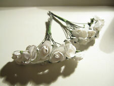 24 WHITE MULBERRY PAPER ROSES 1cm