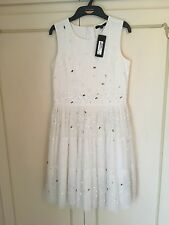 M & S Girls party Bridesmaid dress, white, embellished, age 11-12, Brand New