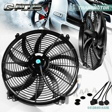 "Universal 16"" Inch 12V Slim Fan Push Pull Electric Radiator Cooling Mount Kit"