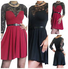 Ladies Dress Skater Womens Flared Party Lace Top Short Mini Size 8 10 12 14
